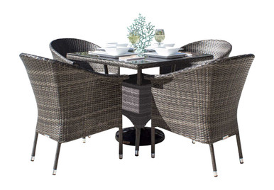Hospitality Rattan Ultra 5 PC Woven Armchair Dining Set with Cushions