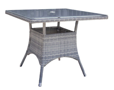 "Hospitality Rattan Athens Square 36"" Dining Table w/tempered glass"