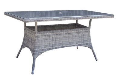 """Hospitality Rattan Athens Rectangular 36"""" x 60"""" Dining Table w/tempered glass"""