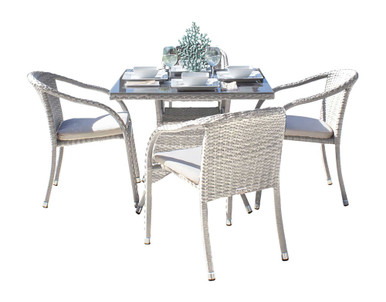 Hospitality Rattan Athens 5 PC Armchair Dining Set with Cushions