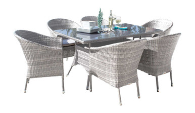 Hospitality Rattan Athens 7 PC Woven Armchair Dining Set with Cushions