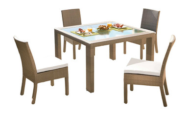 Hospitality Rattan Rubix 5 PC Side Chair Dining Set with Cushions