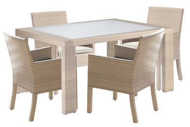 Hospitality Rattan Rubix 5 PC Arm Chair Dining Set with Cushions