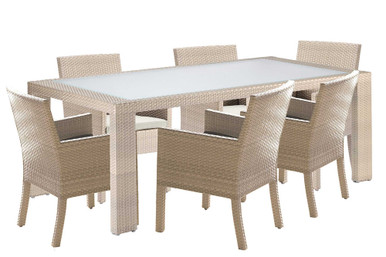 Hospitality Rattan Rubix 7 PC ArmChair Dining Set with Cushions