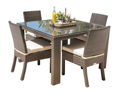 Hospitality Rattan Fiji 5 PC Side Chair Dining Set with Cushions