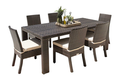 Hospitality Rattan Fiji 7 PC Side Chair Dining Set with Cushions