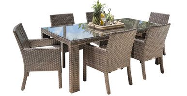 Hospitality Rattan Fiji 7 PC Arm Chair Dining Set with Cushions