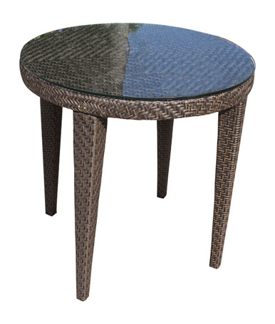 """Hospitality Rattan Soho Patio Woven Round Dining 30"""" Table with Glass"""