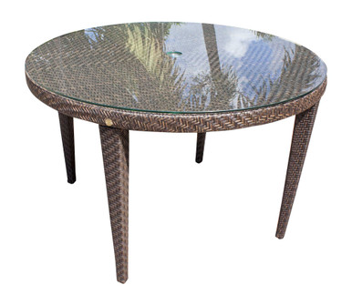 """Hospitality Rattan Soho Patio Woven Round 47"""" Table with Glass"""