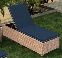 Forever Patio Hampton Wicker Adjustable Chaise Lounge Biscuit Sunbrella Spectrum Indigo With Spectrum Dove Welt