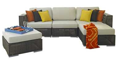 Hospitality Rattan Soho 5 PC Sectional Set Deep Seating Group