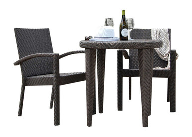 Hospitality Rattan Soho 3 PC Dining Arm Chair Bistro Group with Cushions