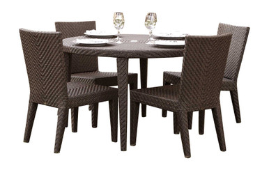 Hospitality Rattan Soho 5 PC Round Dining Side Chair Group with Cushions