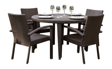 Hospitality Rattan Soho 5 PC Round Dining Arm Chair Group with Cushions