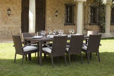 Hospitality Rattan Soho 9 PC Rectangular Dining Arm Chair Group with Cushions