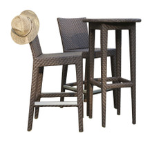 Hospitality Rattan Soho 3 PC Pub & Barstool Group with Cushions