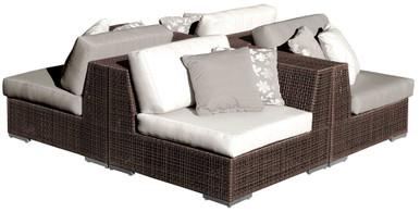 Hospitality Rattan Soho 4 PC Sectional Set Deep Seating Group