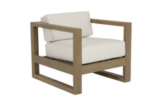 Coastal Teak Club Chair with cushions in Canvas