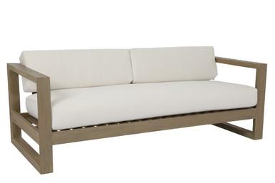 Coastal Teak Sofa with cushions in Canvas Canvas