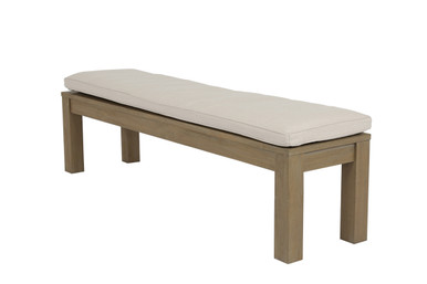 Dining Bench in Coastal Teak with cushion in Canvas Flax