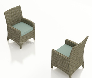 Forever Patio Hampton Wicker Dining Arm Chair Heather With Sunbrella Canvas Spa With Self Welt