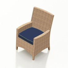 Forever Patio Hampton Wicker Dining Arm Chair Biscuit Sunbrella Spectrum Indigo With Spectrum Dove Welt