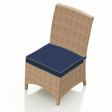 Forever Patio Hampton Wicker Dining Side Chair Biscuit Sunbrella Spectrum Indigo With Spectrum Dove Welt