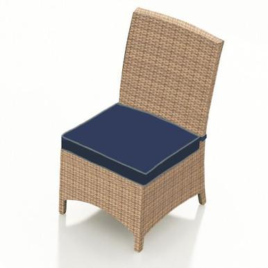 Forever Patio Hampton Wicker Dining Side Chair Biscuit Sunbrella Spectrum Indigo With Spectrum Dove Welt
