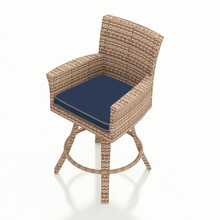 Forever Patio Hampton Wicker Swivel Bar Stool Biscuit Sunbrella Spectrum Indigo With Spectrum Dove Welt