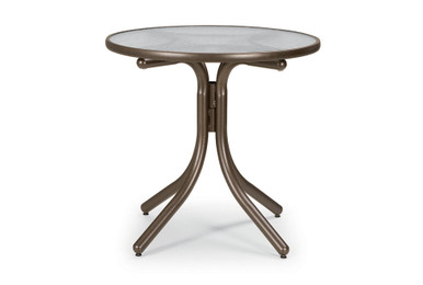 """Chat Height Table with Glass 30"""" Round Table Top w/o Umbrella Hole"""