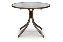 "Dining Height Table with Glass 36"" Round Table Top w/ Umbrella Hole"