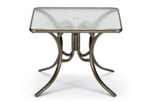 "Dining Height 36"" Square Glass Table with Umbrella Hole"