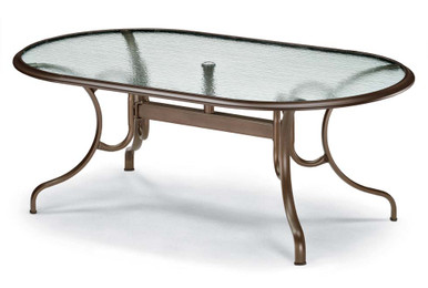 "Dining Height 43""x75"" Oval Glass Table"