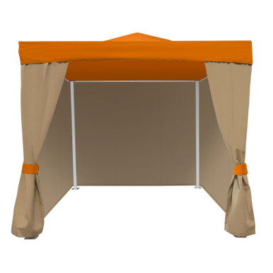 Source Furniture Oasis Functional Curtains 10′ X 10′ Oasis Cabana is shown here with a vented roof, three fixed and one set of functional curtains.