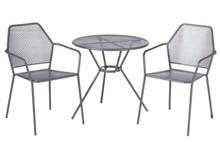 "Alfresco Home Martini 3 Piece Bistro Set w/ 27.5"" Round Bistro Table - Pencil Point Finish"
