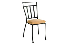 Alfresco Home Semplice Stackable Iron Bistro Chair w/ Cushion - Charcoal Finish