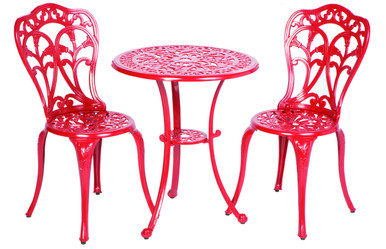 Alfresco Home Triora Cast Aluminum Bistro Set - Lipstick Red Finish