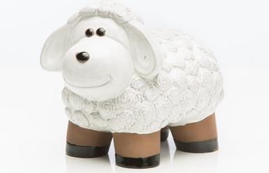 Alfresco Home Medium Ceramic Lamb - Lace White