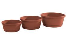 Alfresco Home Libis Plant Bowl w/ Attached Saucer - Terra Cotta