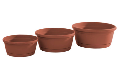 Alfresco Home Libis Plant Bowl w/ Attached Saucer - Terra Cotta