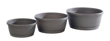 Alfresco Home Libis Plant Bowl w/ Attached Saucer - Anthracite Grey