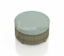 Forever Patio Hampton Wicker Large Round Ottoman Heather With Sunbrella Canvas Spa With Self Welt