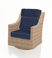 Forever Patio Hampton Wicker High Back Swivel Rocker Biscuit Sunbrella Spectrum Indigo With Spectrum Dove Welt