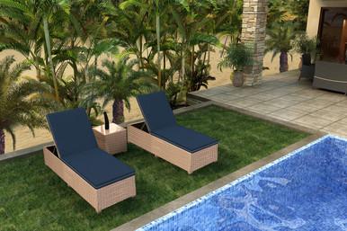 Forever Patio Hampton 3 Piece Wicker Chaise Lounge Set Biscuit Sunbrella Spectrum Indigo With Spectrum Dove Welt