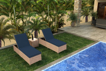 Forever Patio Hampton 3 Piece Wicker Chaise Lounge Set Biscuit Sunbrella Spectrum Indigo With Spectrum Dove Welt