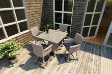 Forever Patio Hampton 5 Piece Wicker Pub Set Biscuit Sunbrella Spectrum Indigo With Spectrum Dove Welt