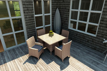 Forever Patio Hampton 5 Piece Wicker Dining Set With Arm Chairs Biscuit Sunbrella Spectrum Indigo With Spectrum Dove Welt