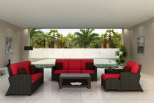 Forever Patio Barbados 6 Piece Wicker Sofa Set Ebony, Flagship Ruby With Canvas Bay Brown Welt Sunbrella Fabric