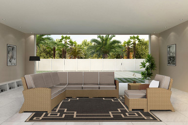 Forever Patio Barbados Wicker 7 Piece 90 Degree Sectional Set Biscuit, Canvas Taupe With Canvas Linen Canvas Welt Sunbrella Fabric