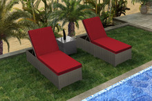 Forever Patio Barbados Resin Wicker 3 Piece Barbados Chaise Lounge Set Ebony, Flagship Ruby With Canvas Bay Brown Welt Sunbrella Fabric